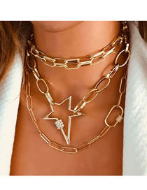 Fashion Golden Irregular Alloy Multilayer Necklace With Diamond And Five-pointed Star