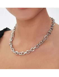 Fashion White K Metal Thick Chain Oval Faceted Necklace