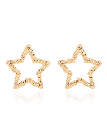 Fashion Golden Alloy Five-pointed Star Hollow Earrings