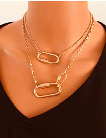 Fashion Golden Double Carabiner Geometric Alloy Multilayer Necklace