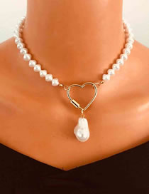 Fashion Golden Peach Heart Link Buckle Pearl Bead Alloy Necklace