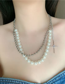 Fashion Pearl Pearl And Diamond Cross Alloy Multilayer Necklace
