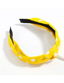 Fashion Polka Dot Yellow Polka Dot Stripe Printed Fabric Wide-side Knotted Headband