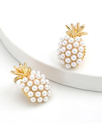 Fashion Pineapple Pineapple Inlaid Pearl Alloy Earrings