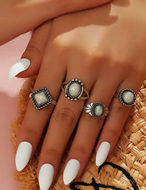 Fashion Silver Resin Geometric Alloy Ring Set