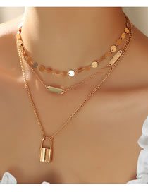Fashion Golden Lock-shaped Disc Alloy Multilayer Necklace
