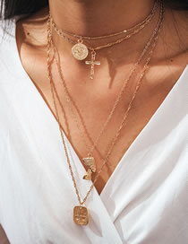 Fashion Golden Cross Geometry Alloy Multilayer Necklace