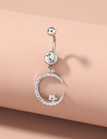 Fashion Silver Body Piercing Stainless Steel Star Moon Navel Ring