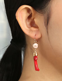 Fashion Red Special-shaped Natural Coral Geometric Alloy Earrings
