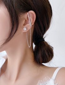Fashion Silver Round One Piece Asymmetrical Earrings With Diamond Chain