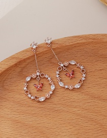 Fashion Golden Copper Inlaid Zircon Butterfly Round Hollow Earrings