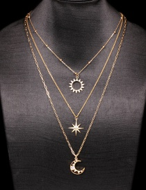 Fashion Golden Moon Starburst Diamond-studded Six-pointed Star Shooting Star Rice Word Moon Multi-layer Necklace
