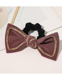Fashion Hair Rope-leather Powder Gold Velvet Bow Spring Clip Hair Rope