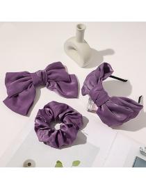 Fashion Purple Three-piece Suit Satin Big Bow Large Intestine Hair Tie Hair Band Spring Hair Clip