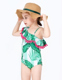 Fashion Green Shoulder Childrens Green Slanted Ball Ball Fringed Banana Leaf One-piece Swimsuit
