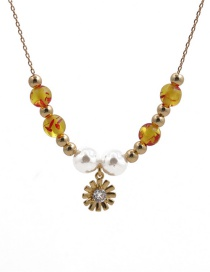 Fashion Flower Copper Bead Amber Pearl Flower Pendant Necklace