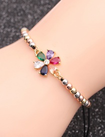 Fashion Mixed Color Bead Chain Flower Copper Copper Inlaid Zircon Adjustable Chain Colorful Flower Bracelet