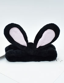 Fashion Black Rabbit Ears Three-dimensional Bunny Ears Headband With Fabric Bow