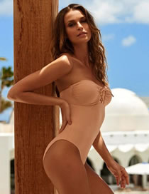 Fashion Beige Solid Color Stitching Tether Pleated One-piece Swimsuit