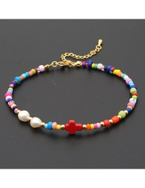 Fashion Red Rice Beads Beaded Cross Natural Freshwater Pearl Anklet