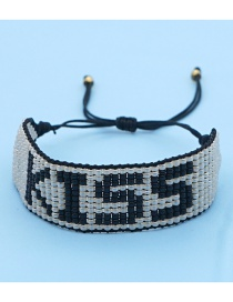 Fashion Silver Rice Beads Hand-woven Letter Wide Side Bracelet