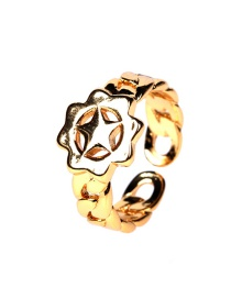 Fashion Ancient Gold Copper Gold-plated Five-pointed Star Flower Chain Open Ring