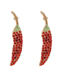 Fashion Red Diamond-studded Small Pepper Alloy Earrings