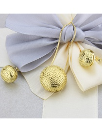 Fashion Gold-plated Round Rhinestones Gold-plated Copper Necklace Earrings