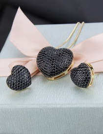 Fashion Gold-plated Black Copper Inlaid Zircon Heart Pendant Necklace Earrings