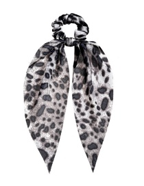 Fashion Gray Fabric Ribbon Leopard Print Large Intestine Loop Hair Rope