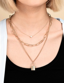 Fashion Gold Color En Love Lock-shaped Thick Chain Alloy Multilayer Necklace