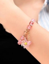 Fashion Pink Flower Acrylic Beaded Spray Paint Hollow Bracelet