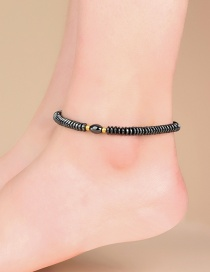 Fashion Black Hematite Resin Geometric Beaded Elastic Anklet