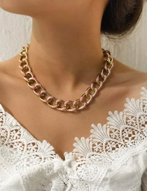 Fashion Pink Aluminum Thick Chain Oil Dripping Hollow Necklace