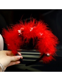 Fashion Red Feather Black Headband Diamond Flower Feather Fabric Hair Band