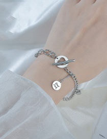 Fashion Silver Round Brand Oi Buckle Stainless Steel Letter Pendant Bracelet