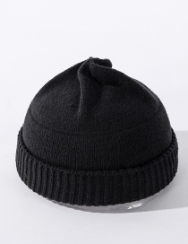 Fashion Black Knitted Solid Color Stitching Landlord Hat