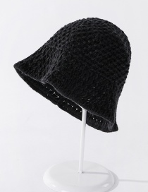 Fashion Black Imitation Hand Crochet Knitted Hollow Solid Color Ear Protection Fisherman Hat