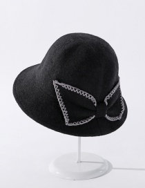 Fashion Black Cashmere Embroidery Lace Bow Fisherman Hat