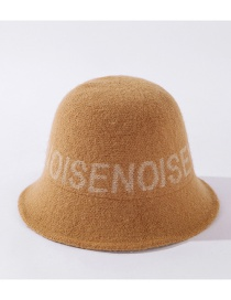 Fashion Yellow Knitted Fisherman Hat With Wool Letters