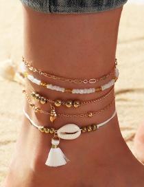 Fashion Gold Color Tassel Rice Beads Shell Alloy Multilayer Bracelet