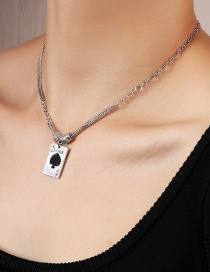 Fashion Silver Playing Card Ace Of Spades Imitation Silver Necklace