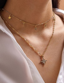 Fashion Gold Color Snowflake Five-pointed Star Alloy Multilayer Necklace
