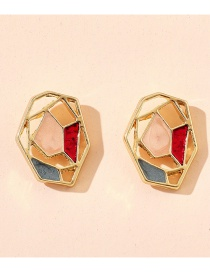 Fashion Color Mixing Dripping Geometric Alloy Hollow Earrings