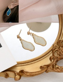 Fashion White Geometric Dripping Color Resin Alloy Earrings