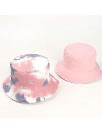 Fashion Tie-dye Leather Gray And White-double-sided Wear Tie-dye Double-sided Fisherman Hat