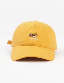 Fashion Yellow Small Airplane Embroidered Letter Soft Top Cap