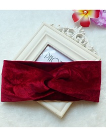 Fashion Red Wine Contrasting Wide-brimmed Solid Gold Velvet Cross Headband