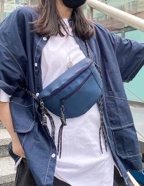 Fashion Blue Sports Tassel Zipper Crossbody Chest Bag