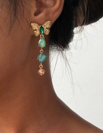 Fashion Gold Color Alloy Diamond Butterfly Stud Earrings